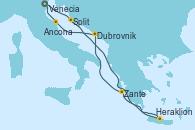 Visitando Venecia (Italia), Split (Croacia), Heraklion (Creta), Zante (Grecia), Dubrovnik (Croacia), Ancona (Italia), Venecia (Italia)