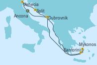 Visitando Ancona (Italia), Venecia (Italia), Split (Croacia), Santorini (Grecia), Mykonos (Grecia), Mykonos (Grecia), Dubrovnik (Croacia), Ancona (Italia)