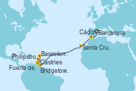 Visitando Barcelona, Cádiz (España), Santa Cruz de Tenerife (España), Bridgetown (Barbados), Castries (Santa Lucía/Caribe), Basseterre (Antillas), Philipsburg (St. Maarten), Fuerte de France (Martinica)