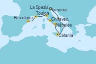 Visitando Venecia (Italia), Catania (Sicilia), Nápoles (Italia), Civitavecchia (Roma), La Spezia, Florencia y Pisa (Italia), Toulon (Francia), Barcelona