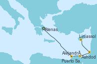 Visitando Atenas (Grecia), Alejandría (Egipto), Puerto Said (Egipto), Ashdod (Israel), Limassol (Chipre)
