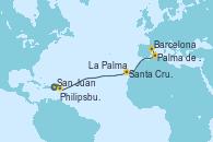 Visitando San Juan (Puerto Rico), Philipsburg (St. Maarten), Santa Cruz de Tenerife (España), La Palma (Islas Canarias/España), Palma de Mallorca (España), Barcelona