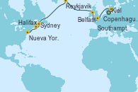 Visitando Kiel (Alemania), Copenhague (Dinamarca), Southampton (Inglaterra), Belfast (Irlanda), Reykjavik (Islandia), Reykjavik (Islandia), Sydney (Nueva Escocia/Canadá), Halifax (Canadá), Nueva York (Estados Unidos), Nueva York (Estados Unidos)