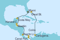 Visitando Miami (Florida/EEUU), Great Stirrup Cay (Bahamas), Cartagena de Indias (Colombia), Canal Panamá, Colón (Panamá), Puerto Limón (Costa Rica), Roatán (Honduras), Harvest Caye (Belize), Costa Maya (México), Miami (Florida/EEUU)