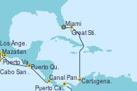 Visitando Miami (Florida/EEUU), Great Stirrup Cay (Bahamas), Cartagena de Indias (Colombia), Canal Panamá, Puerto Caldera (Costa Rica), Puerto Quetzal (Guatemala), Mazatlan (México), Puerto Vallarta (México), Cabo San Lucas (México), Los Ángeles (California)