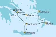 Visitando Atenas (Grecia), Kusadasi (Efeso/Turquía), Rodas (Grecia), Santorini (Grecia), Santorini (Grecia), Heraklion (Creta), Milos (Grecia), Mykonos (Grecia), Mykonos (Grecia), Atenas (Grecia)