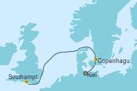 Visitando Kiel (Alemania), Copenhague (Dinamarca), Southampton (Inglaterra)