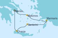 Visitando Atenas (Grecia), Atenas (Grecia), Mykonos (Grecia), Marmaris (Turquía), Santorini (Grecia), Chania (Creta/Grecia), Atenas (Grecia)