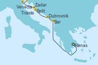 Visitando Atenas (Grecia), Bar ( Montenegro), Dubrovnik (Croacia), Split (Croacia), Zadar (Croacia), Venecia (Italia), Trieste (Italia)