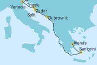 Visitando Trieste (Italia), Venecia (Italia), Zadar (Croacia), Split (Croacia), Dubrovnik (Croacia), Santorini (Grecia), Atenas (Grecia)