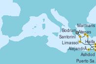 Visitando Atenas (Grecia), Atenas (Grecia), Limassol (Chipre), Haifa (Israel), Ashdod (Israel), Puerto Said (Egipto), Alejandría (Egipto), Marmaris (Turquía), Bodrum (Turquia), Santorini (Grecia), Atenas (Grecia)