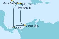 Visitando Colón (Panamá), Cartagena de Indias (Colombia), Ocho Ríos (Jamaica), Gran Caimán (Islas Caimán), Montego Bay (Jamaica), Colón (Panamá)