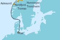 Visitando Kiel (Alemania), Nordfjordeid, Honningsvag (Noruega), Honningsvag (Noruega), Tromso (Noruega), Trondheim (Noruega), Aalesund (Noruega), Kiel (Alemania)