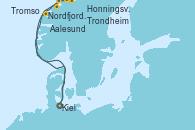 Visitando Kiel (Alemania), Aalesund (Noruega), Honningsvag (Noruega), Honningsvag (Noruega), Tromso (Noruega), Trondheim (Noruega), Nordfjordeid, Kiel (Alemania)