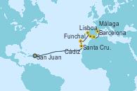 Visitando San Juan (Puerto Rico), Santa Cruz de Tenerife (España), Funchal (Madeira), Lisboa (Portugal), Cádiz (España), Málaga, Barcelona
