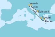 Visitando Bari (Italia), Venecia (Italia), Trieste (Italia), Dubrovnik (Croacia), Argostoli (Grecia), Atenas (Grecia), Bari (Italia)