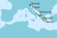 Visitando Venecia (Italia), Trieste (Italia), Dubrovnik (Croacia), Argostoli (Grecia), Atenas (Grecia), Bari (Italia), Venecia (Italia)
