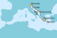 Visitando Bari (Italia), Venecia (Italia), Trieste (Italia), Dubrovnik (Croacia), Katakolon (Olimpia/Grecia), Atenas (Grecia), Bari (Italia)