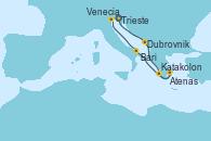 Visitando Trieste (Italia), Dubrovnik (Croacia), Katakolon (Olimpia/Grecia), Atenas (Grecia), Bari (Italia), Venecia (Italia)
