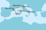 Visitando Barcelona, Ibiza (España), Nápoles (Italia), Livorno, Pisa y Florencia (Italia), Génova (Italia), Marsella (Francia), Barcelona