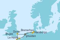 Visitando Ijmuiden (Ámsterdam), Dover (Inglaterra), Le Havre (Francia), Brujas (Bélgica), Hamburgo (Alemania), Bremerhaven (Alemania), Ijmuiden (Ámsterdam)
