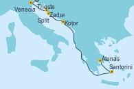 Visitando Trieste (Italia), Venecia (Italia), Zadar (Croacia), Split (Croacia), Kotor (Montenegro), Santorini (Grecia), Atenas (Grecia)