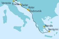 Visitando Trieste (Italia), Venecia (Italia), Zadar (Croacia), Dubrovnik (Croacia), Kotor (Montenegro), Santorini (Grecia), Atenas (Grecia)