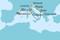 Visitando Barcelona, Marsella (Francia), Livorno, Pisa y Florencia (Italia), Civitavecchia (Roma), Kotor (Montenegro), Dubrovnik (Croacia), Rijeka (Croacia), Venecia (Italia)