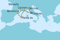 Visitando Civitavecchia (Roma), Cannes (Francia), Palma de Mallorca (España), Barcelona, Marsella (Francia), Génova (Italia), Civitavecchia (Roma)