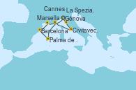 Visitando Génova (Italia), La Spezia, Florencia y Pisa (Italia), Civitavecchia (Roma), Cannes (Francia), Palma de Mallorca (España), Barcelona, Marsella (Francia), Génova (Italia)