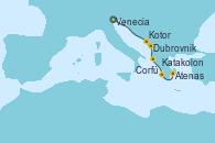 Visitando Venecia (Italia), Venecia (Italia), Dubrovnik (Croacia), Kotor (Montenegro), Corfú (Grecia), Katakolon (Olimpia/Grecia), Atenas (Grecia), Atenas (Grecia)