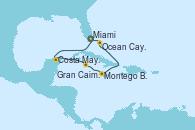 Visitando Miami (Florida/EEUU), Costa Maya (México), Gran Caimán (Islas Caimán), Montego Bay (Jamaica), Ocean Cay MSC Marine Reserve (Bahamas), Miami (Florida/EEUU)