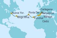 Visitando Barcelona, Cartagena (Murcia), Málaga, Cádiz (España), Funchal (Madeira), Ponta Delgada (Azores), Kings Wharf (Bermudas), Nueva York (Estados Unidos)