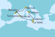 Visitando Barcelona, Palma de Mallorca (España), La Valletta (Malta), Catania (Sicilia), Civitavecchia (Roma), Génova (Italia), Tarragona (España)