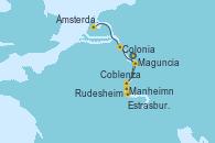 Visitando Maguncia (Alemania), Manheimn (Alemania), Estrasburgo (Francia), Rudesheim (Alemania), Coblenza (Alemania), Colonia (Alemania), Ámsterdam (Holanda), Ámsterdam (Holanda)