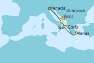 Visitando Venecia (Italia), Bari (Italia), Corfú (Grecia), Atenas (Grecia), Kotor (Montenegro), Dubrovnik (Croacia), Venecia (Italia)
