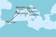 Visitando Barcelona, Gibraltar (Inglaterra), Marsella (Francia), Génova (Italia), Livorno, Pisa y Florencia (Italia), Civitavecchia (Roma)