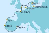 Visitando Valencia, Lisboa (Portugal), Vigo (España), Le Havre (Francia), Harwich (Inglaterra), Ijmuiden (Ámsterdam), Aarhus (Dinamarca), Warnemunde (Alemania)