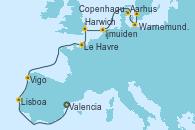 Visitando Valencia, Lisboa (Portugal), Vigo (España), Le Havre (Francia), Harwich (Inglaterra), Ijmuiden (Ámsterdam), Aarhus (Dinamarca), Warnemunde (Alemania), Copenhague (Dinamarca)
