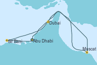 Visitando Abu Dhabi (Emiratos Árabes Unidos), Sir Bani Yas Is (Emiratos Árabes Unidos), Muscat (Omán), Dubai (Emiratos Árabes Unidos), Dubai (Emiratos Árabes Unidos), Dubai (Emiratos Árabes Unidos), Abu Dhabi (Emiratos Árabes Unidos)