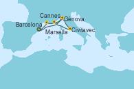 Visitando Barcelona, Génova (Italia), Civitavecchia (Roma), Cannes (Francia), Génova (Italia), Marsella (Francia), Barcelona