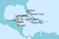 Visitando Miami (Florida/EEUU), Costa Maya (México), Belize (Caribe), Roatán (Honduras), Ocean Cay MSC Marine Reserve (Bahamas), Miami (Florida/EEUU), Ocho Ríos (Jamaica), Gran Caimán (Islas Caimán), Cozumel (México), Ocean Cay MSC Marine Reserve (Bahamas), Miami (Florida/EEUU)