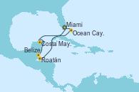 Visitando Miami (Florida/EEUU), Costa Maya (México), Belize (Caribe), Roatán (Honduras), Ocean Cay MSC Marine Reserve (Bahamas), Miami (Florida/EEUU)