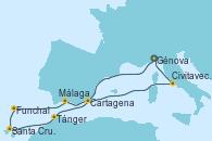 Visitando Génova (Italia), Málaga, Funchal (Madeira), Santa Cruz de Tenerife (España), Tánger (Marruecos), Cartagena (Murcia), Civitavecchia (Roma), Génova (Italia)