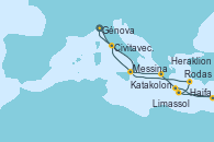 Visitando Génova (Italia), Katakolon (Olimpia/Grecia), Heraklion (Creta), Haifa (Israel), Limassol (Chipre), Rodas (Grecia), Messina (Sicilia), Civitavecchia (Roma), Génova (Italia)