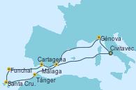 Visitando Civitavecchia (Roma), Génova (Italia), Málaga, Funchal (Madeira), Santa Cruz de Tenerife (España), Tánger (Marruecos), Cartagena (Murcia), Civitavecchia (Roma)