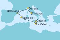 Visitando Barcelona, Palma de Mallorca (España), La Valletta (Malta), Catania (Sicilia), Civitavecchia (Roma), Génova (Italia), Barcelona