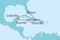 Visitando Miami (Florida/EEUU), Ocho Ríos (Jamaica), Gran Caimán (Islas Caimán), Cozumel (México), Costa Maya (México), Miami (Florida/EEUU)