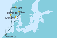 Visitando Ámsterdam (Holanda), Flam (Noruega), Stavanger (Noruega), Kristiansand (Noruega), Oslo (Noruega), Ámsterdam (Holanda)