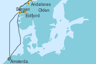 Visitando Ámsterdam (Holanda), Eidfjord (Hardangerfjord/Noruega), Andalsnes (Noruega), Olden (Noruega), Bergen (Noruega), Ámsterdam (Holanda)